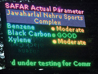 LED boards set up at five spots to display air quality index