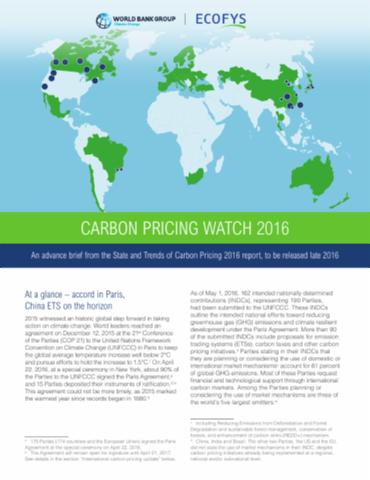Carbon Pricing Watch 2016