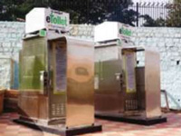 2 e-toilets in, 100 more by year-end
